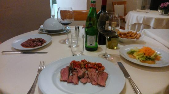 La Campagnola: Duck in Raspberry Sauce (L) & Salt-Baked Fillet (R)