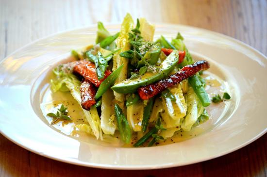 The Kitchen at Plants of the Southwest: Romaine Salad with Roasted Carrots, Avocado, Green Beans, and Wild Oregano