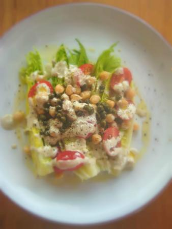 The Kitchen at Plants of the Southwest: Caesar Salad with Chick Peas, Tomatoes and Walnut Caesar Dressing