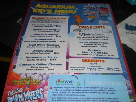 Children 39 S Menu Front Picture Of Aquarium Restaurant