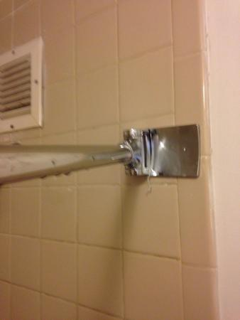 Quality Inn Gainesville: Incorrectly installed curved shower rod...  Defeats the purpose!