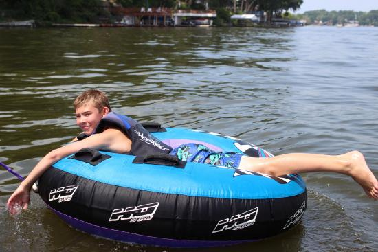 Monticello, IN: Tubing on Lake Shafer