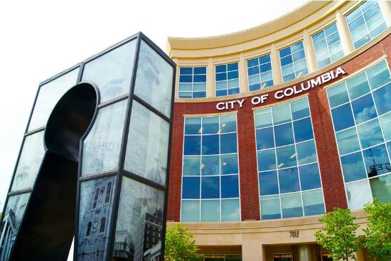 "Columbia, MO: City Hall and the ""Keys to the City"" sculpture by Shawn Brant"