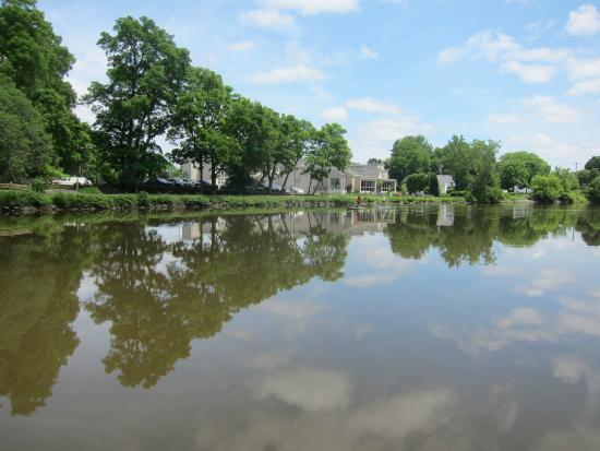 Scenic view of the Erie Grill from aboard the Sam Patch on the Erie Canal