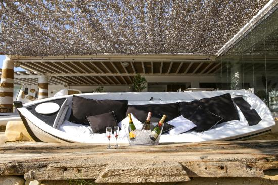 Elia Beach Restaurant: The Real Boat Turned Into A Sofa