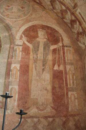 St. Mary's Kempley: Wall fresco.