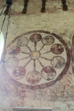 St. Mary's Kempley: The wheel of life fresco.