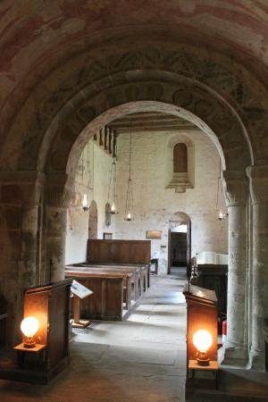 St. Mary's Kempley: The interior of the church.