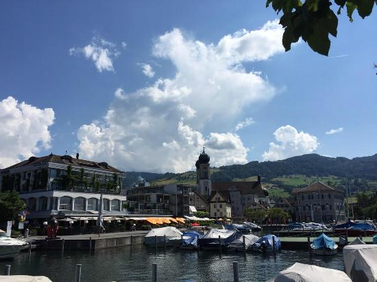 Hotel Marina Lachen: a view of the hotel from the lake