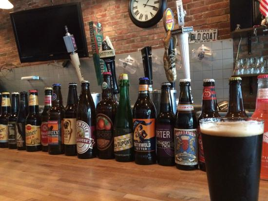 Richmond, ME: the bar and some of its bottled offerings