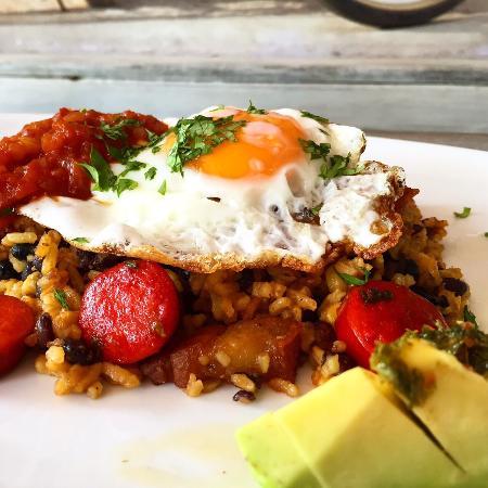 "Radio Burger: ""Calet town""  chorizo, chicarron, fried egg, coriander rice served with avocado"