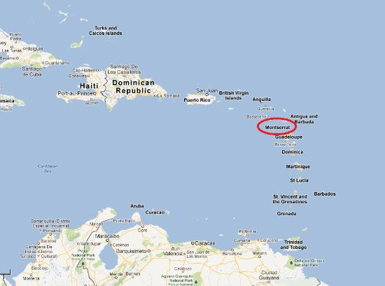 Map of area - Picture of Soufriere Hills Volcano, Montserrat ... Map Of Montserrat Lesser Antilles In on in texas map, in asia map, in mexico map, in sweden map, in france map, in georgia map, in germany map, in china map, in usa map, in latin america map,