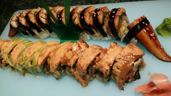 Dragon Roll On Top And Suzuki Roll Picture Of Bonsai Grill Arlington Tripadvisor