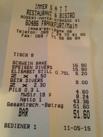 Immer Satt : Reasonable Check for Dinner