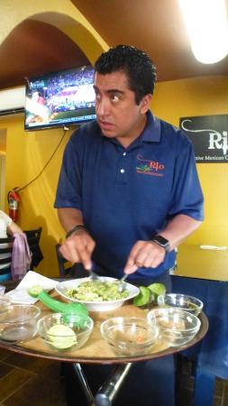 Rio: Making Guacamole with Avacado, Cilanteo, Tomato, Onion, Mango and Special Seasonings. Delicious
