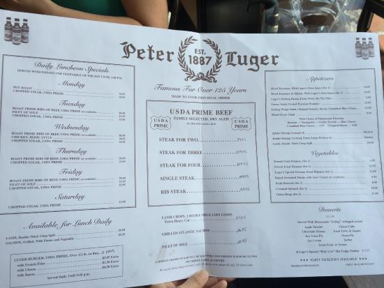 Menu Picture Of Peter Luger Steak House Brooklyn