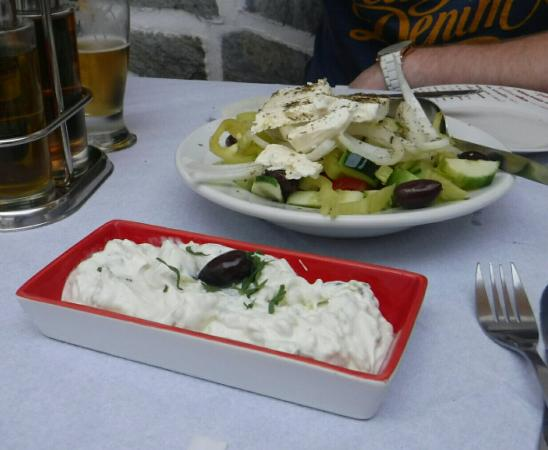 Hellinikon Restaurant: Greek Salad and Tzatziki