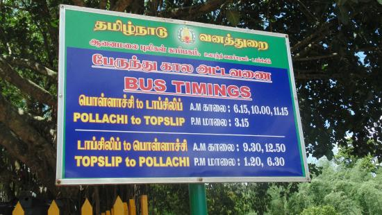 Pollachi, Indie: Bus Timings