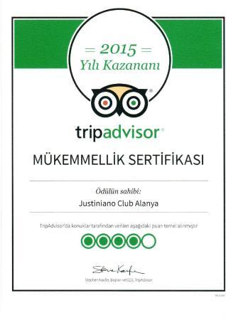 Justiniano Club Alanya: Justiniano Club Alanya 4* получил «Сертификат качества» от TripAdvisor - за соответствие высоким