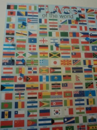 Centro Hostel: Nacionalidades dos hóspedes recebem marcas. Eu fui o primeiro brasileiro!