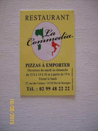 Pizzeria La Commedia Carte De Visite Verso