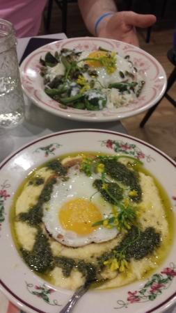 Talula's Pizza: Rice bowl in the background and nettle polenta in the foreground.