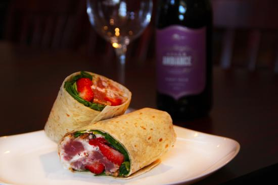 fresh local tuna wrap with strawberries and goat cheese