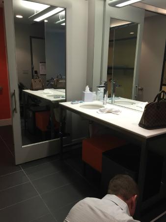 Aloft Tampa Downtown: Bathroom Vanity ( Kudos To The Mini Fridge Though)
