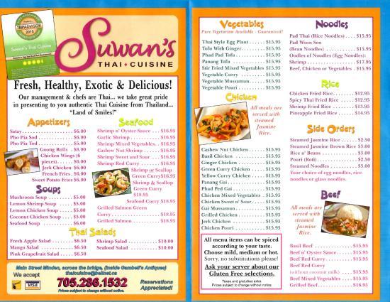 Suwans Thai Cuisine Menu Picture Of Suwans Thai Cuisine Minden