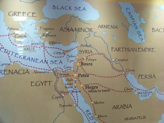 Petra Museum: Map showing key trade routes