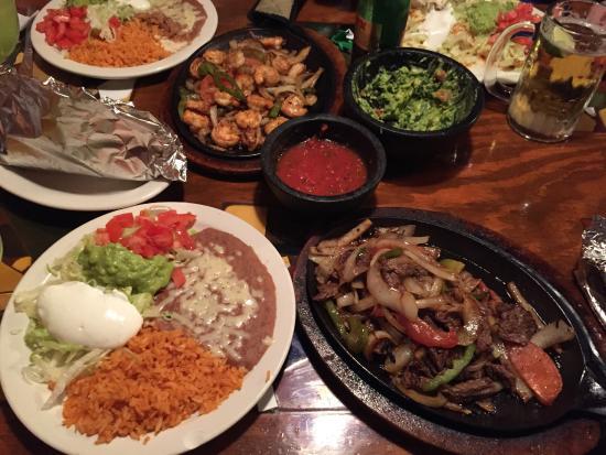 La Bamba Mexican Cafe: Steak and Chicken Fajitas, Shrimp Fajitas and Enchiladas