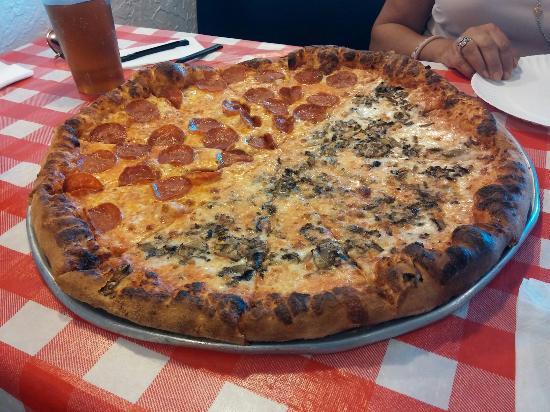 """Giovanni's Pizza: 18""""-Half pepperoni, half mushroom"""
