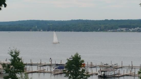 Heirloom Restaurant: View of Chautauqua Lake from a hotel porch table.