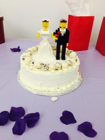 Granville, MA: Wedding shower cake with LEGO topper