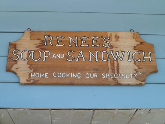 Renee's Soup & Sandwich: Sign above front door.