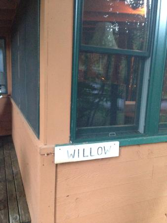Adirondack Diamond Point Lodge: The willow name of our cabin