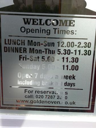 Golden Oven: Actual Hours of Service