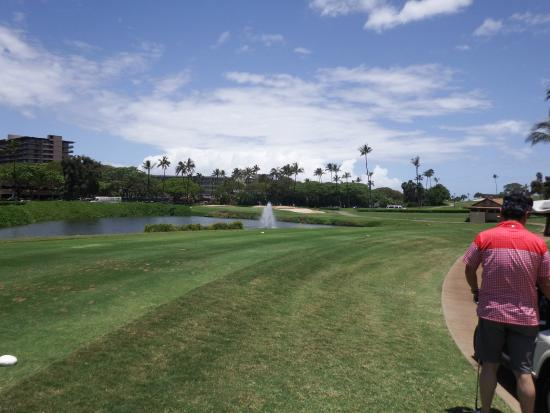 Kaanapali Golf Courses : 噴水越えの短いパー3