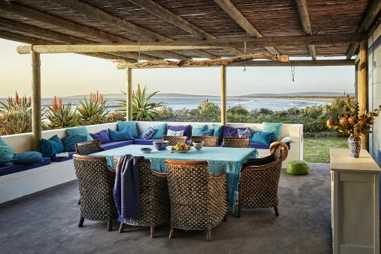 Zula Beach House and Cottage: Sheltered patio with sea views