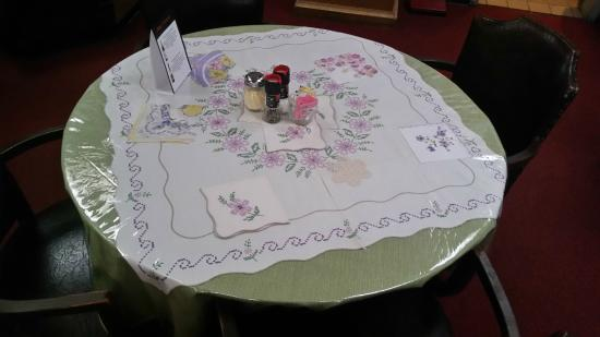 Table Cloth With Plastic Cover To Protect It Picture Of Marys