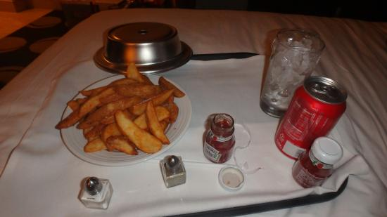 20.00 room service for fries and a coke when i actually ordered ...