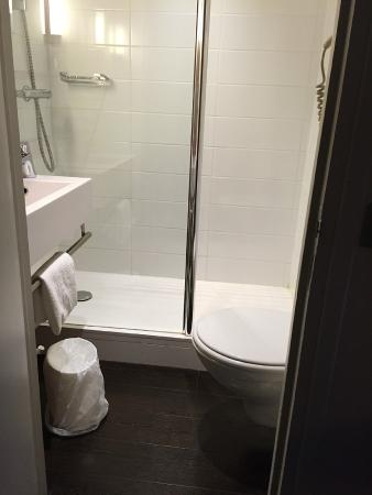 Ibis Styles Dijon Central: Tiny bathroom. Step over toilet to get to shower
