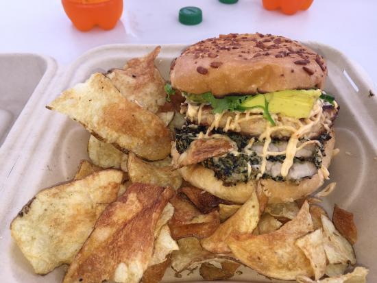 Sun Dried Specialties Fish Bowl : Furikake Ahi & Crabcake burger