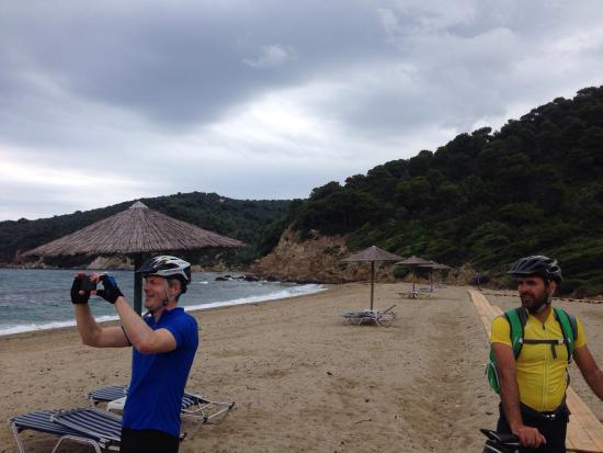 Skiathos Mountain Bikes: A stop at a remote beach , monastery and an abundance of forest and mountain tracks with our Gui