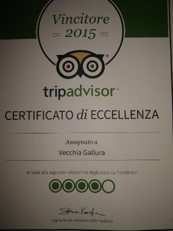 Vecchia Gallura : certificato eccellenza 2015