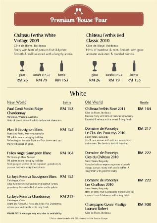 Dave's Bistro Bar & Grill: Wine List - White