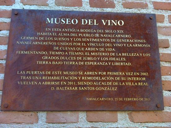 Navalcarnero, Spain: Museo del Vino, placa.