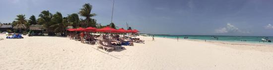 Xpu-Ha, Mexico: Panoramic shot of the private beach that you reach via short van ride.