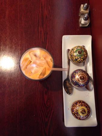 Durian dessert, whole flounder, salad, decor, Thai tea