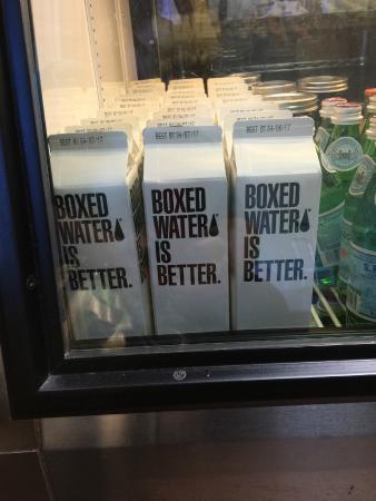 Crisp Bake Shop : Only boxed water served at Crisp!